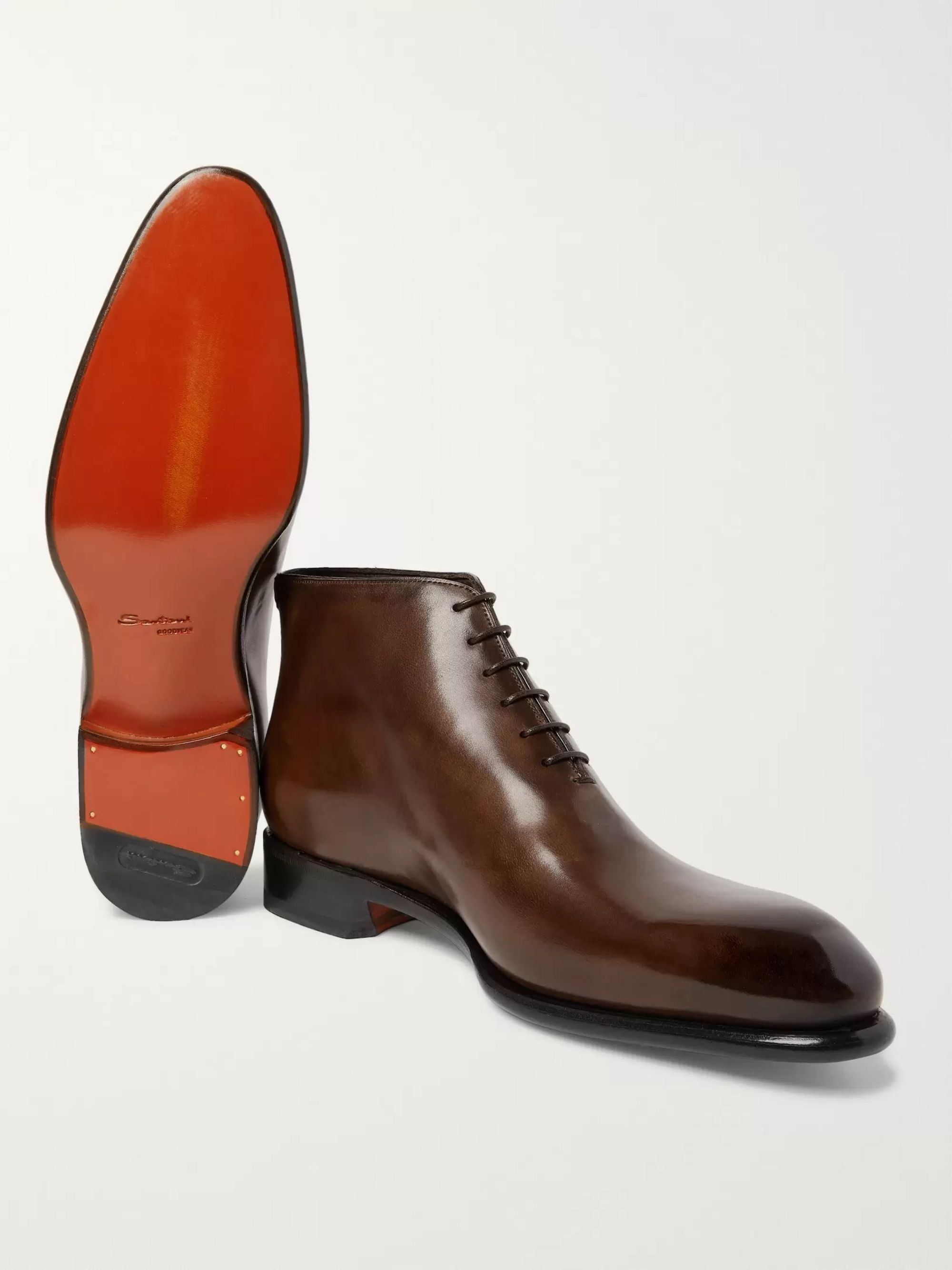Santoni Whole-Cut Leather Boots