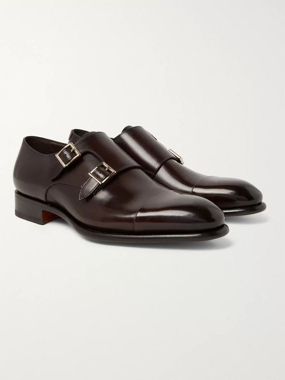 Santoni Cap-Toe Leather Monk-Strap Shoes
