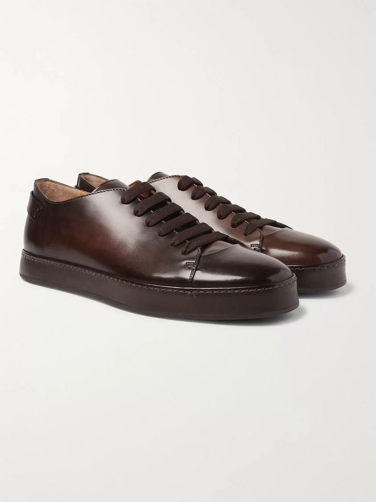 Santoni Burnished-Leather Sneakers