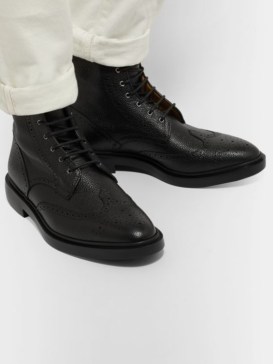 Thom Browne Pebble-Grain Leather Wingtip Boots