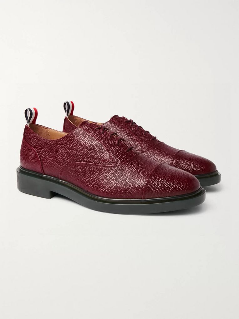 Thom Browne Cap-Toe Pebble-Grain Leather Oxford Shoes