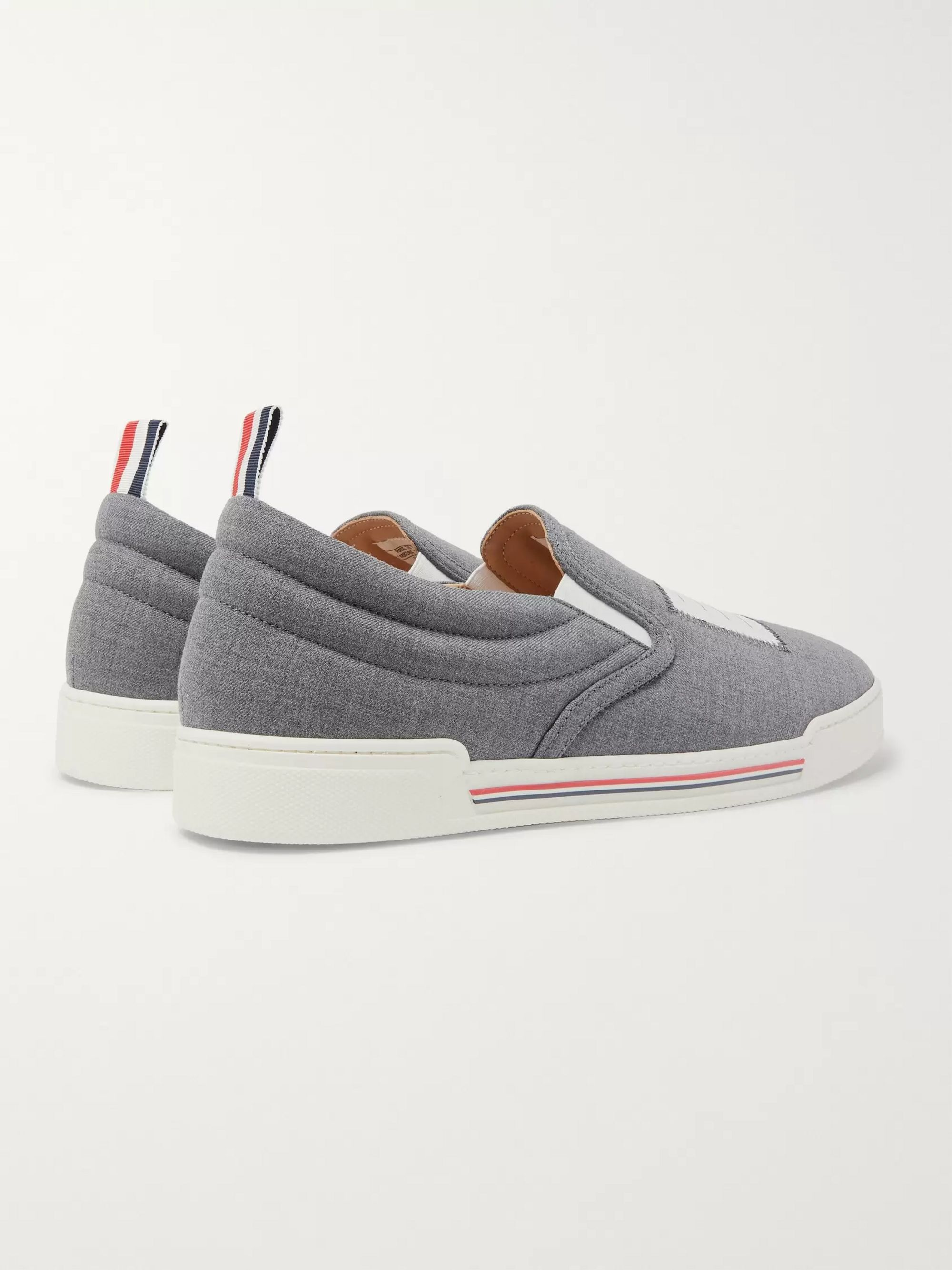 Thom Browne Logo-Appliquéd Wool Slip-On Sneakers