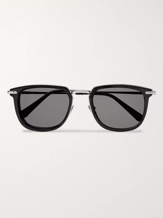 Brioni D-Frame Acetate and Silver-Tone Sunglasses