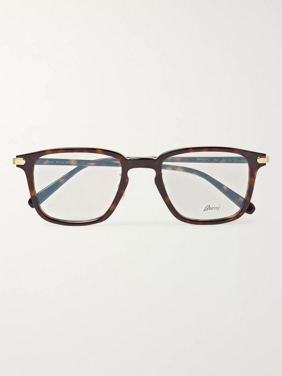 Brioni Square-Frame Tortoiseshell Acetate Optical Glasses