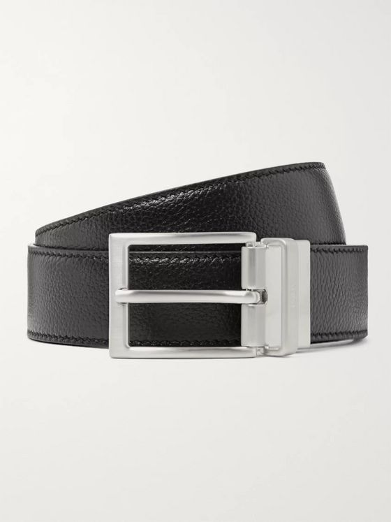 Tod's 3.5cm Black and Midnight-Blue Reversible Full-Grain Leather Belt
