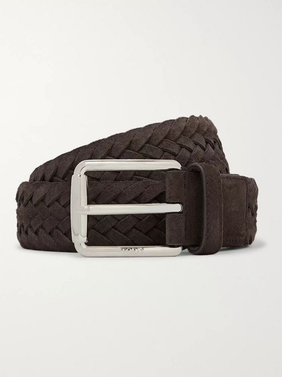 Tod's 3.5cm Brown Woven Suede Belt