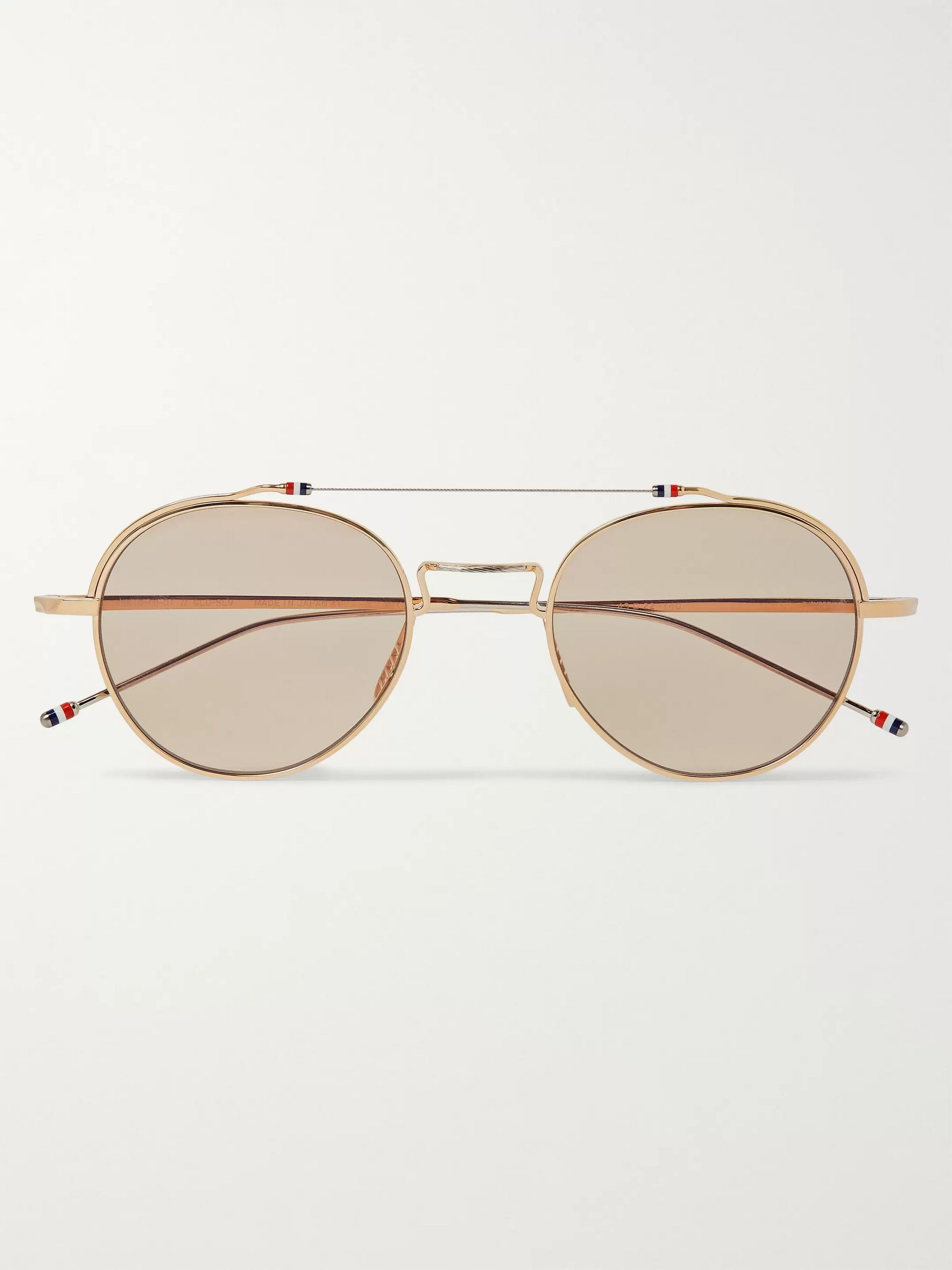 Thom Browne Round-Frame Gold-Tone Optical Glasses