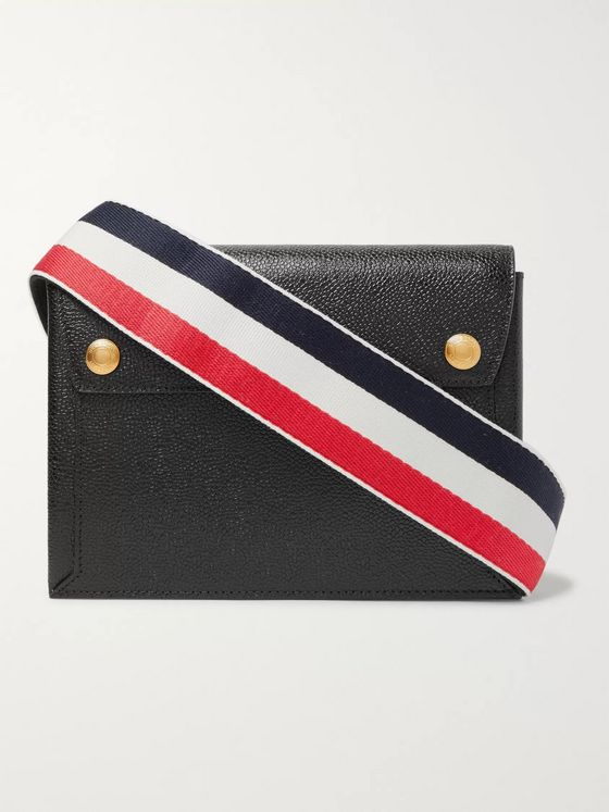 Thom Browne Striped Grosgrain-Trimmed Pebble-Grain Leather Messenger Bag