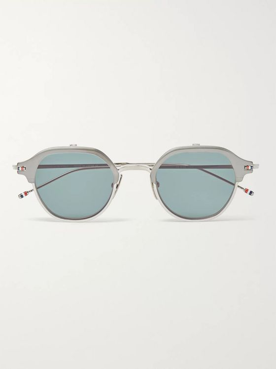 Thom Browne Round-Frame Silver-Tone Optical Glasses with Clip-On UV Lenses