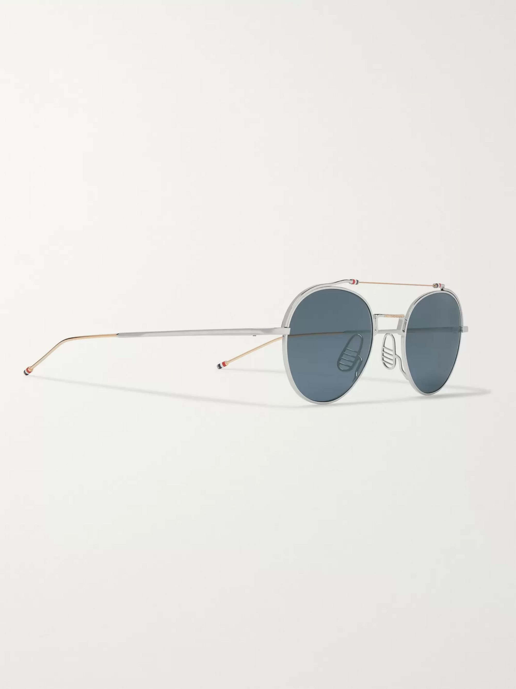 Thom Browne Round-Frame Silver and Gold-Tone Sunglasses