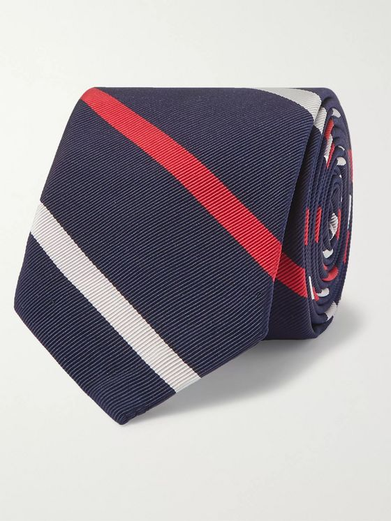 Thom Browne 5cm Striped Silk and Cotton-Blend Tie