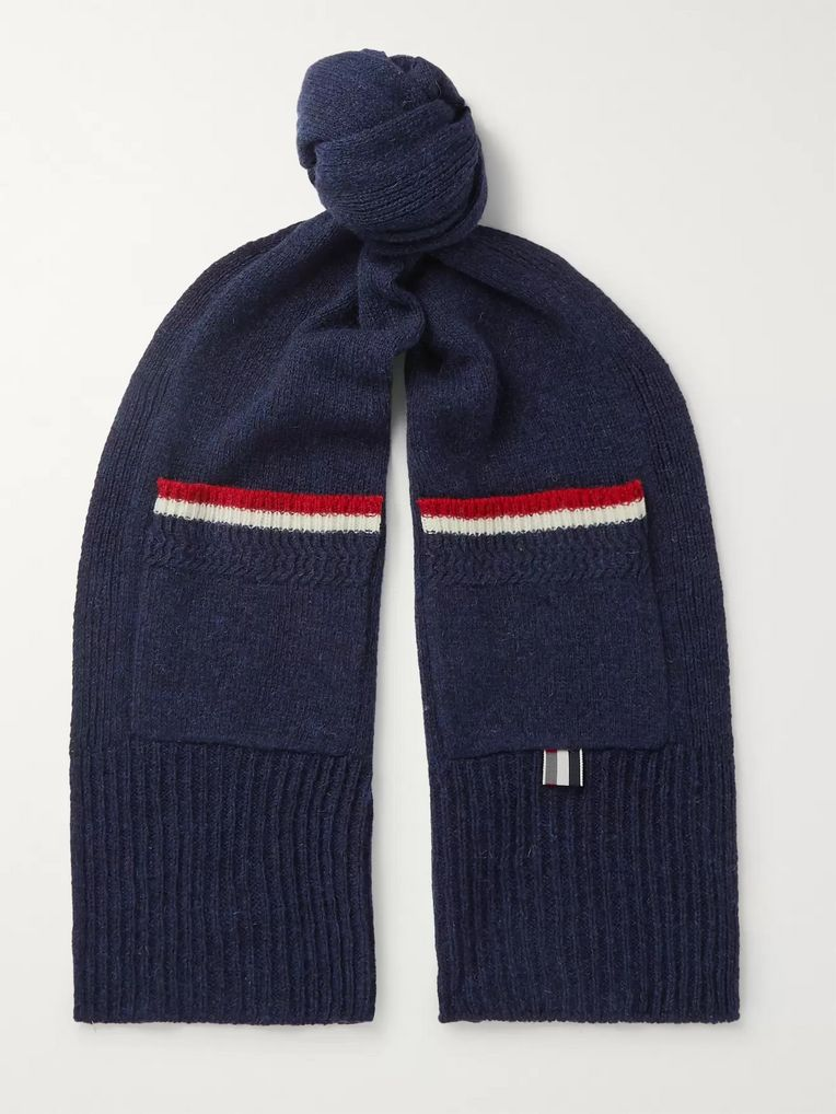 Thom Browne Striped Shetland Wool Scarf