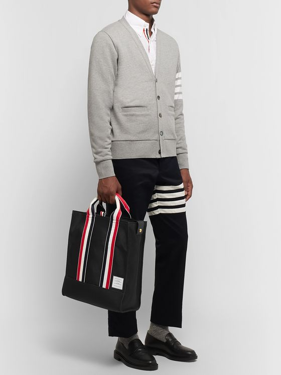 Thom Browne Striped Grosgrain-Trimmed Pebble-Grain Leather-Trimmed Canvas Tote Bag