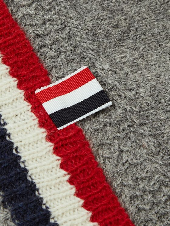 Thom Browne Striped Shetland Wool Beanie
