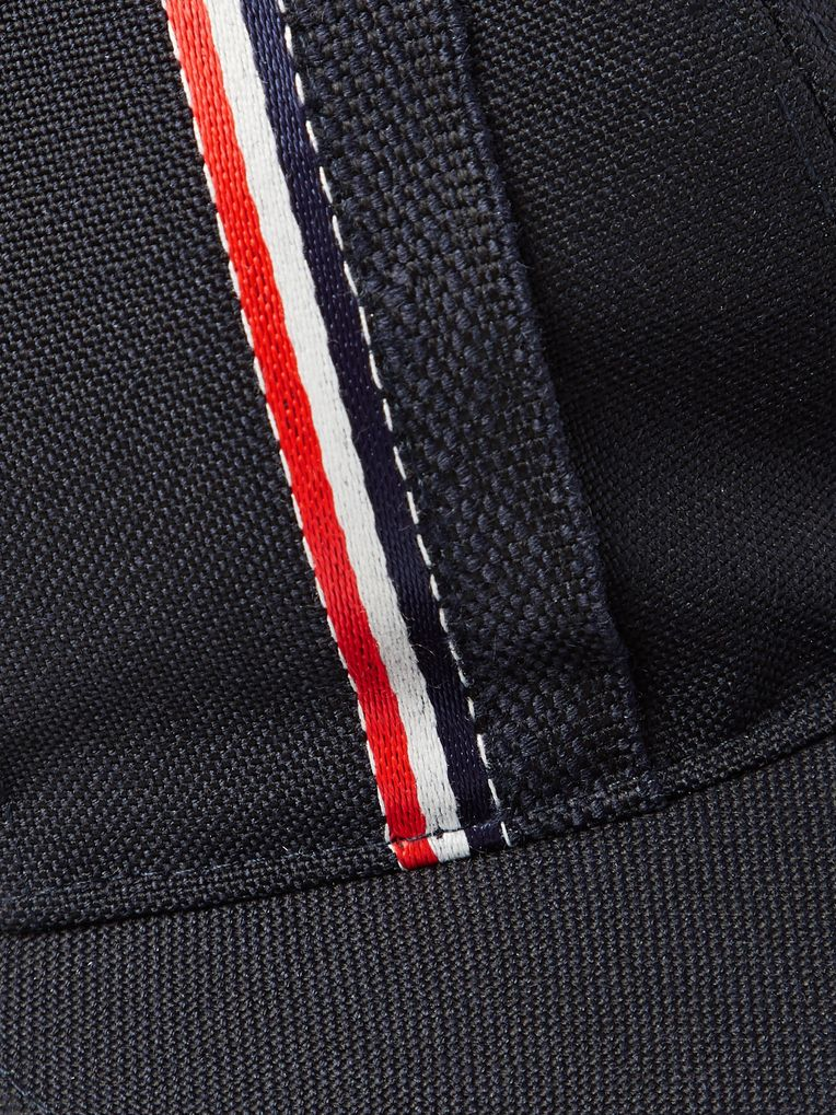 Thom Browne Striped Selvedge-Trimmed Wool and Mohair-Blend Baseball Cap