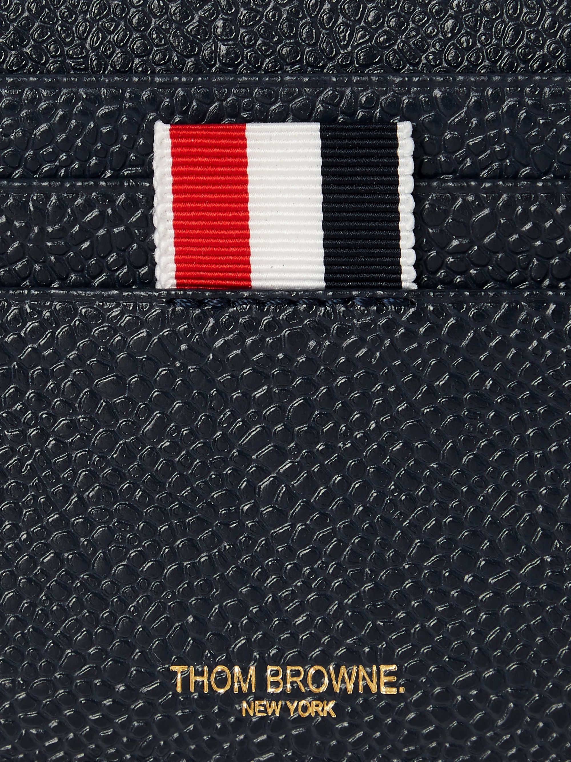Thom Browne Striped Grosgrain-Trimmed Pebble-Grain Leather Cardholder