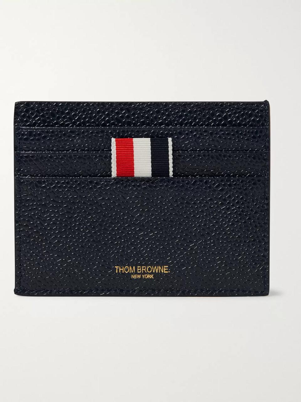 fa63ea8df214 Thom Browne Striped Grosgrain-Trimmed Pebble-Grain Leather Cardholder