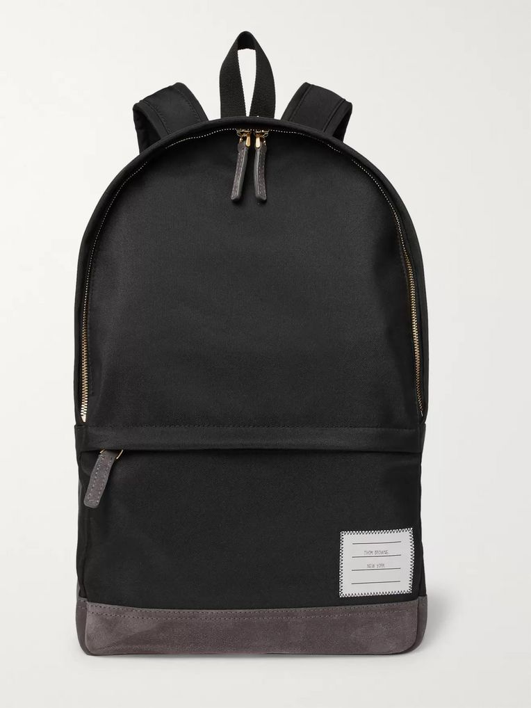 Thom Browne Suede-Trimmed Nylon Backpack