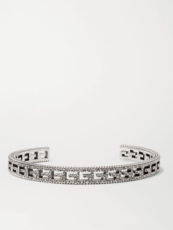 Gucci Logo-Embossed Sterling Silver Cuff