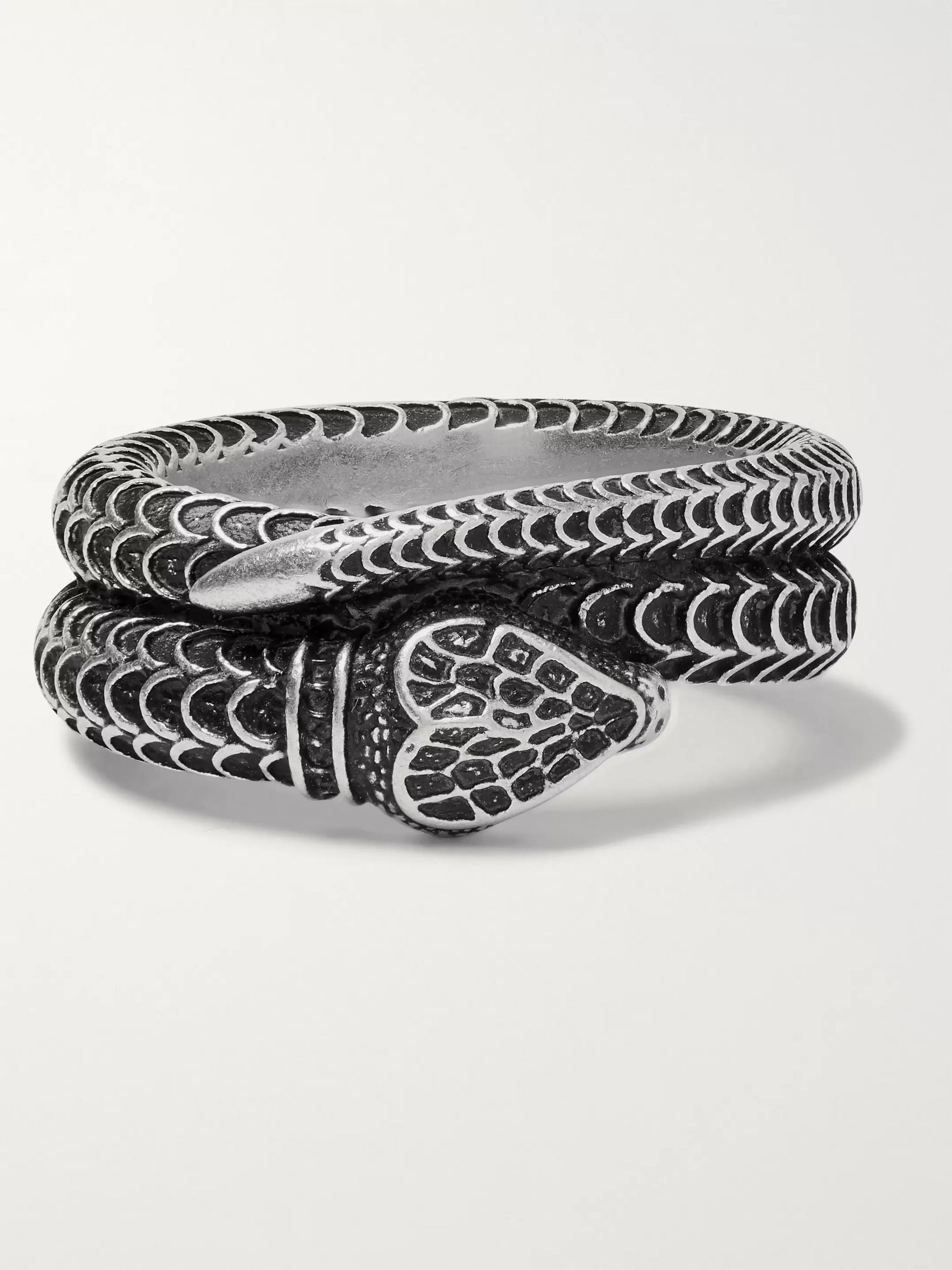 Gucci Snake Burnished Sterling Silver Ring