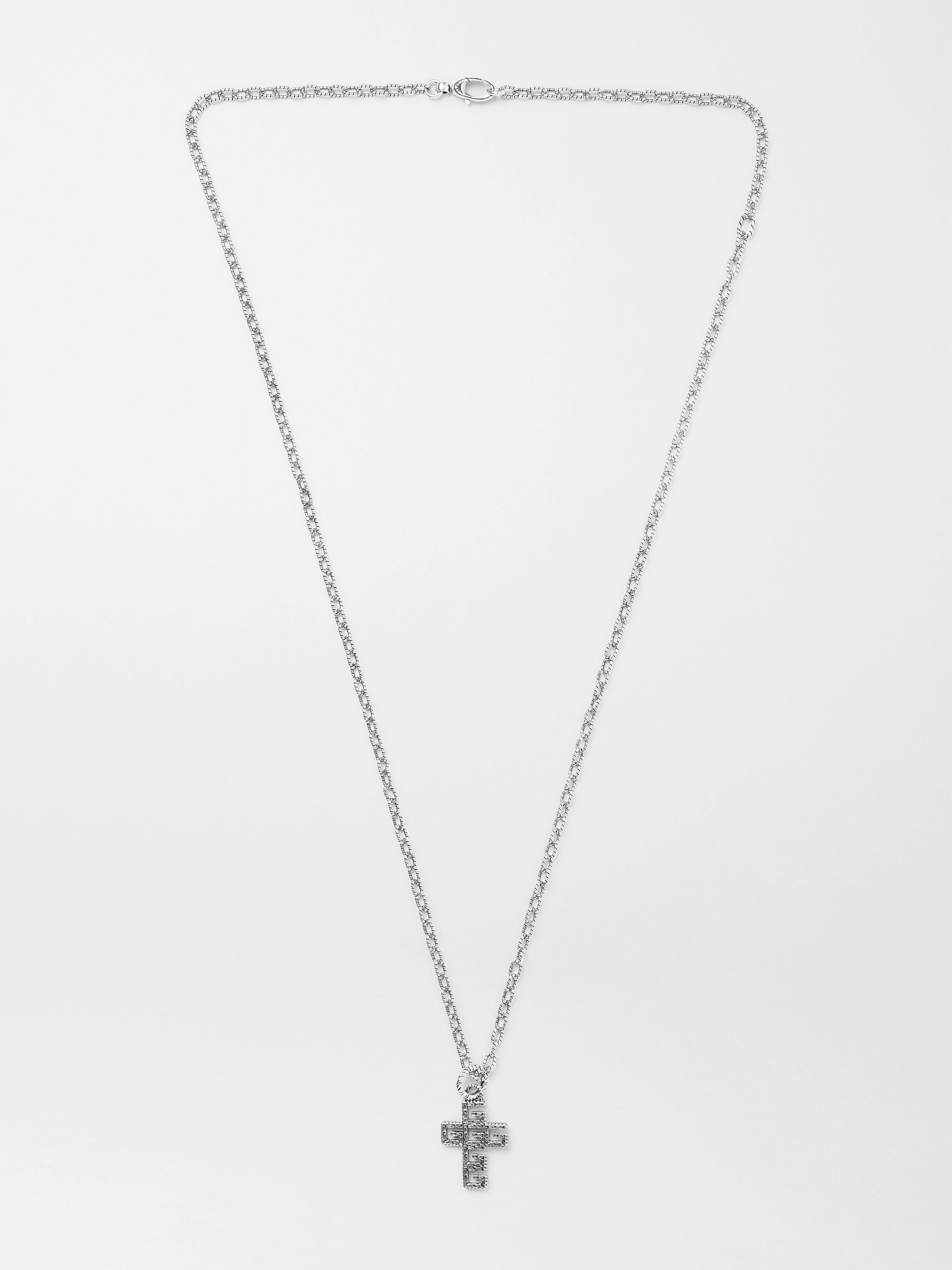Gucci Logo-Embossed Burnished Sterling Silver Necklace