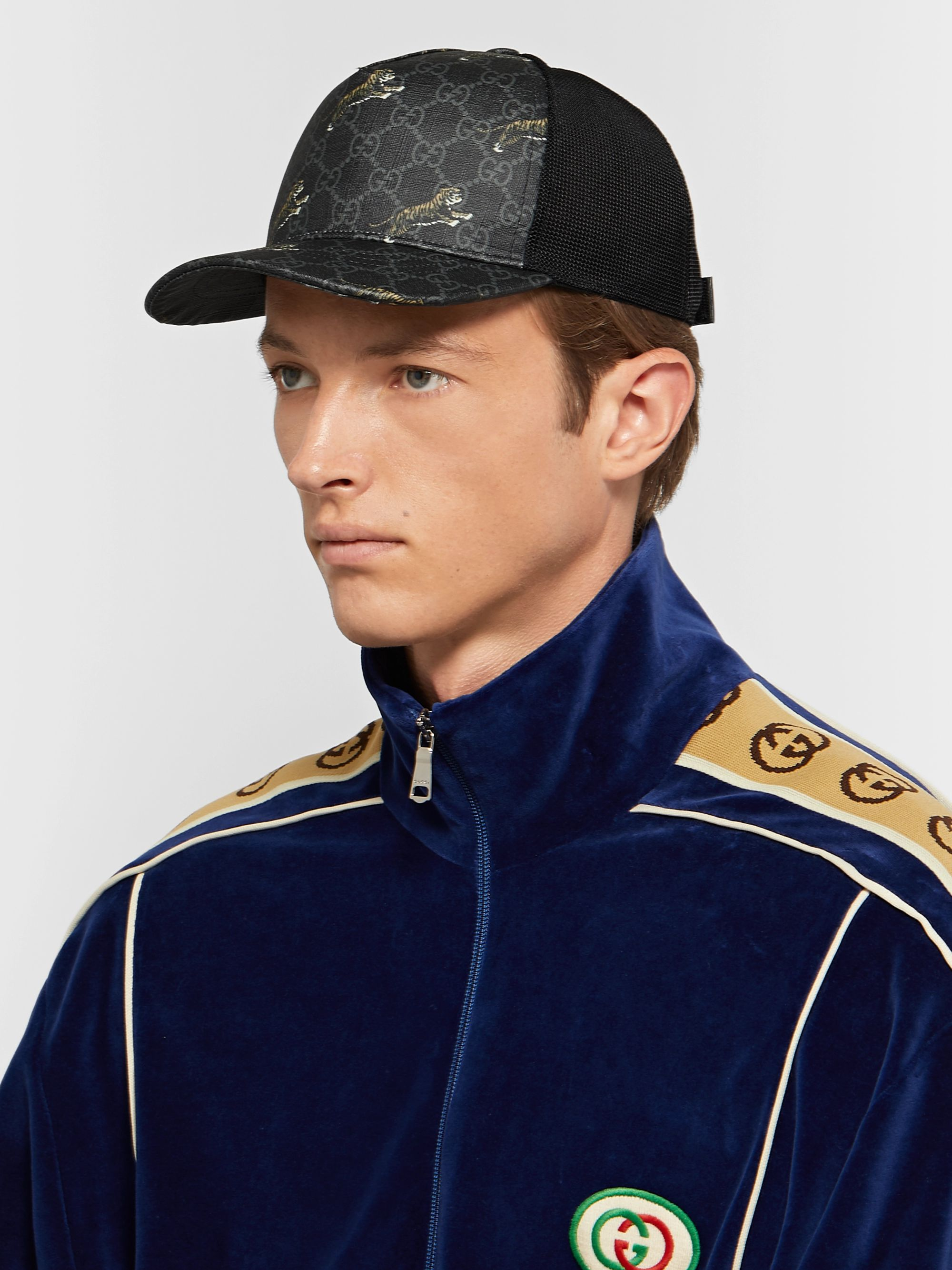Gucci Monogrammed Coated-Canvas and Mesh Baseball Cap