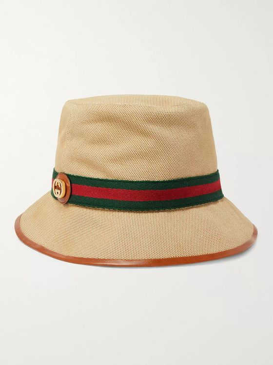 Gucci Logo-Appliquéd Striped Webbing-Trimmed Canvas Bucket Hat