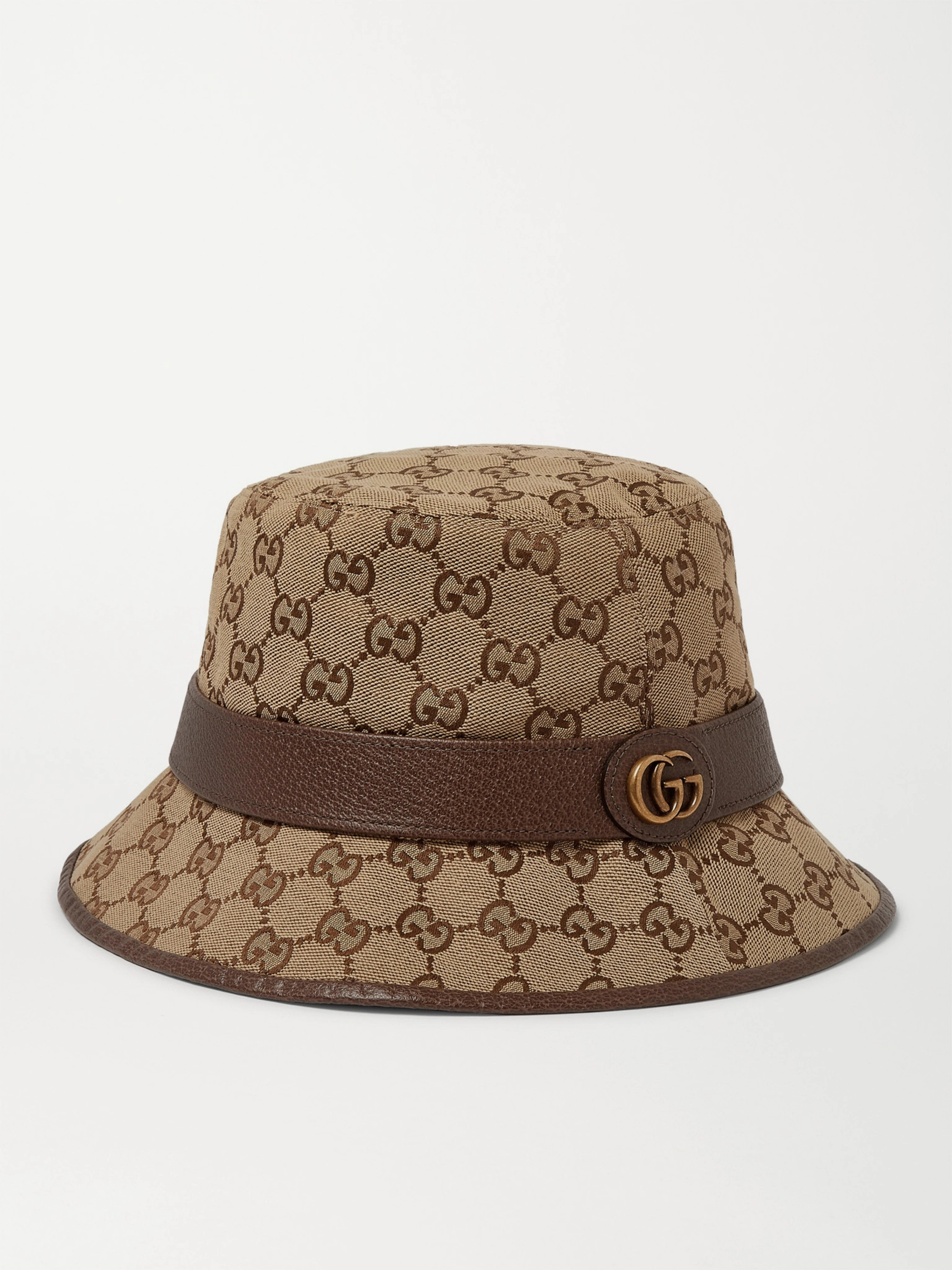 Gucci Leather-Trimmed Monogrammed Canvas Bucket Hat