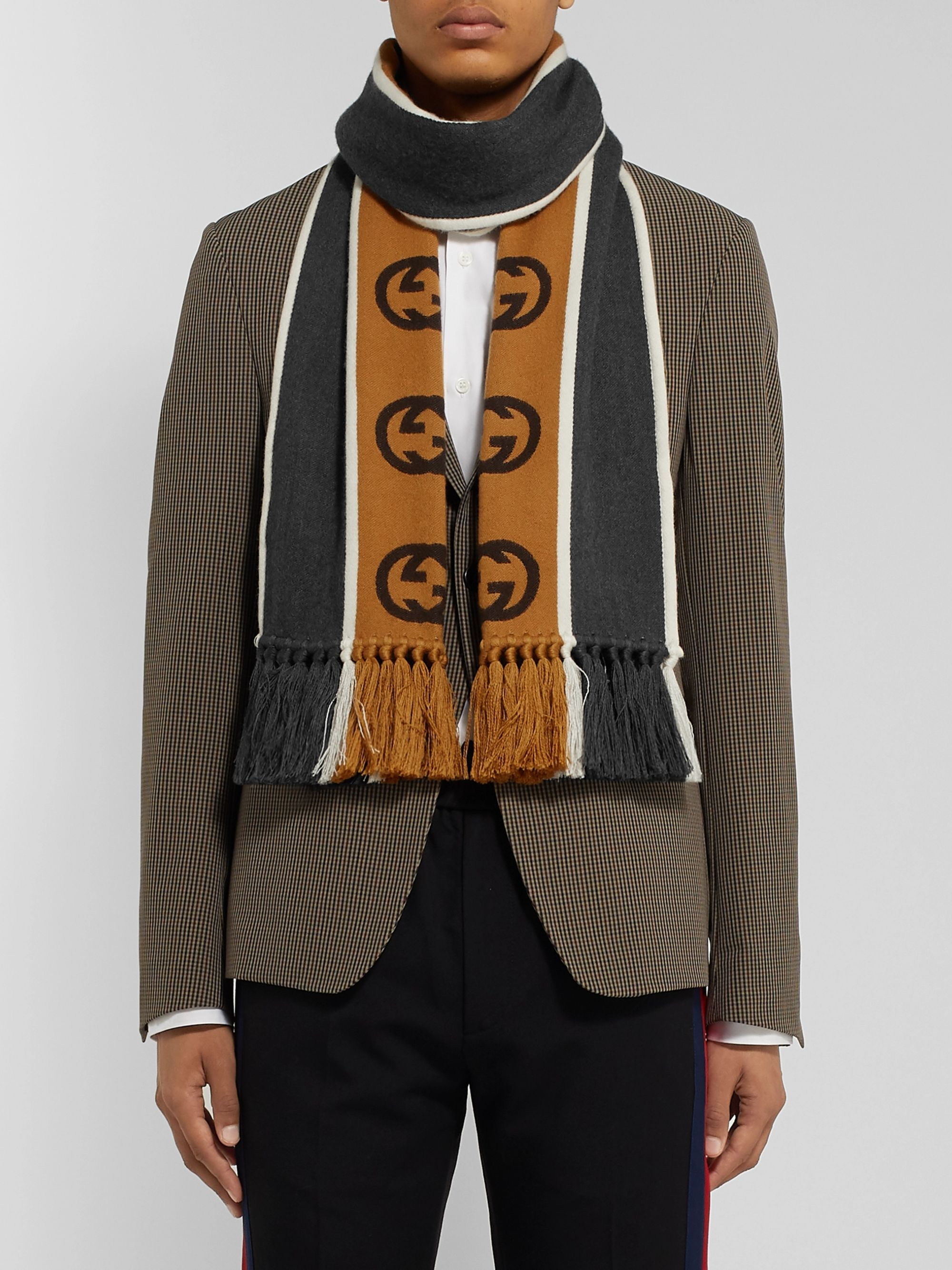 Gucci Tasselled Striped Logo-Intarsia Wool and Cotton-Blend Scarf