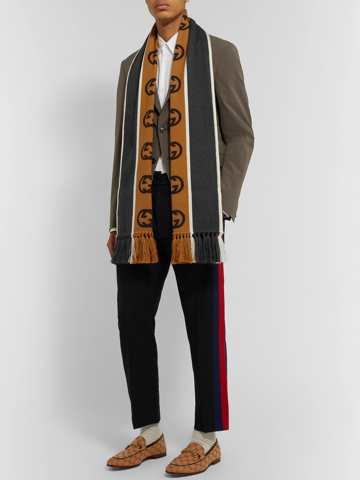 Gucci Accessories TASSELLED STRIPED LOGO-INTARSIA WOOL AND COTTON-BLEND SCARF