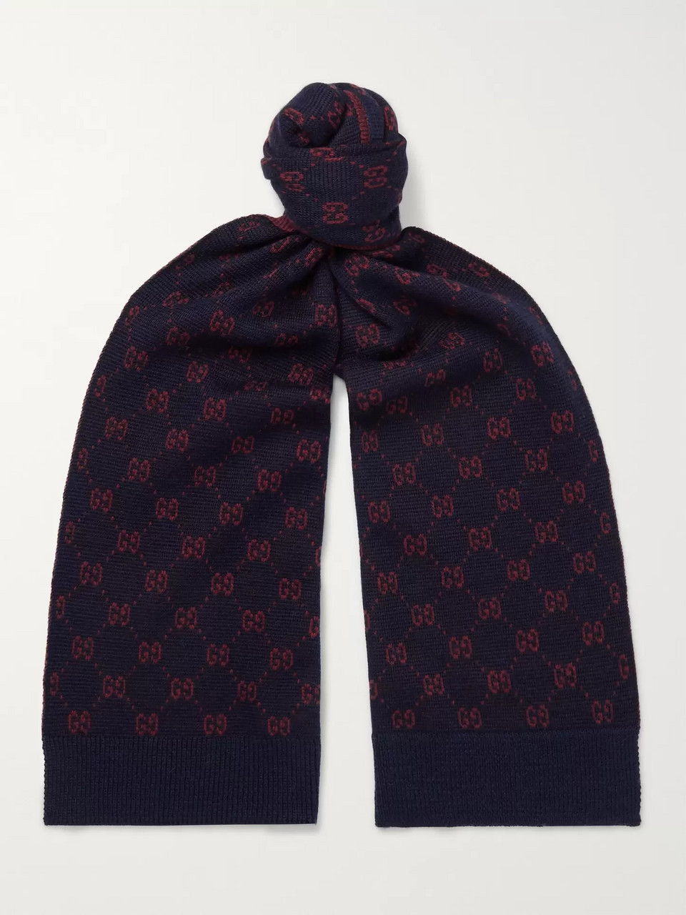 Gucci Logo-Intarsia Alpaca and Wool-Blend Scarf