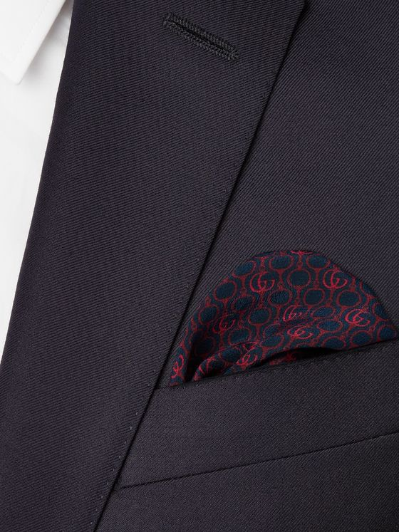 Gucci Logo-Print Silk-Crepe Pocket Square