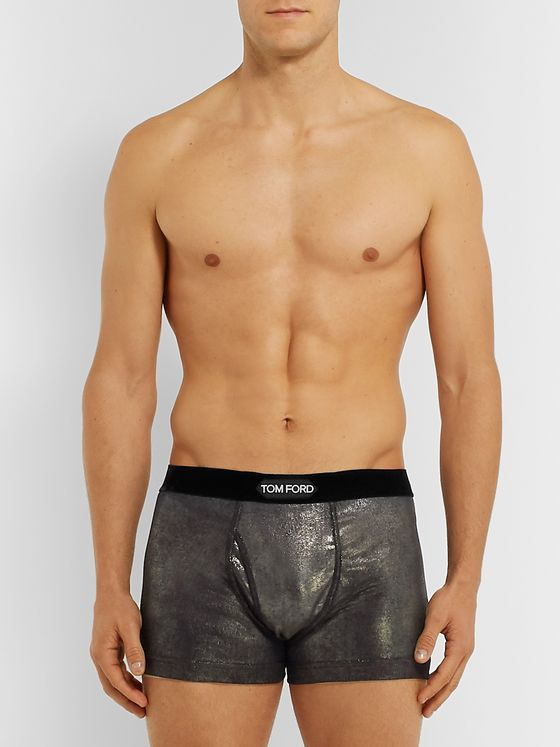 TOM FORD Velvet-Trimmed Metallic Stretch-Cotton Jersey Boxer Briefs