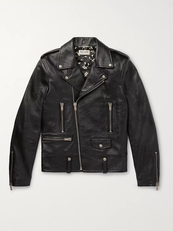 SAINT LAURENT Slim-Fit Textured-Leather Biker Jacket