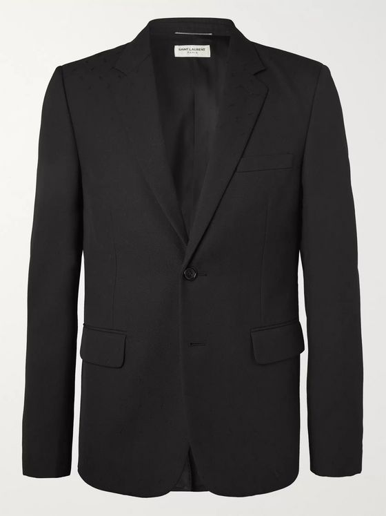 SAINT LAURENT Black Slim-Fit Virgin Wool-Jacquard Suit Jacket