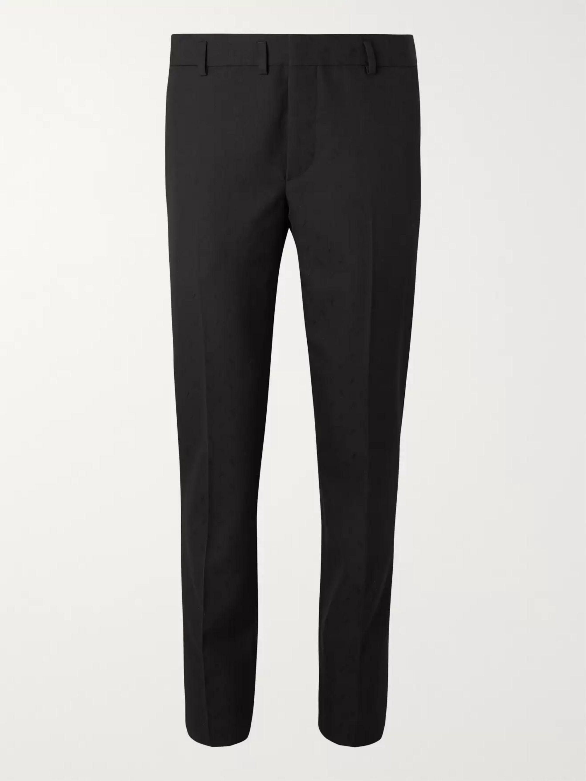 Black Slim Fit Virgin Wool Jacquard Suit Trousers by Saint Laurent