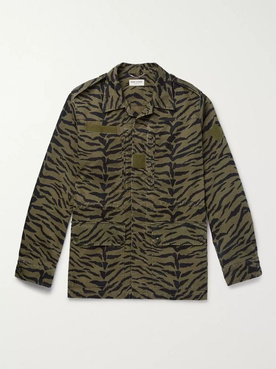 SAINT LAURENT Printed Cotton and Ramie-Blend Field Jacket