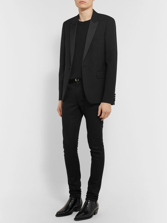 SAINT LAURENT Black Slim-Fit Satin-Trimmed Virgin Wool-Jacquard Tuxedo Jacket