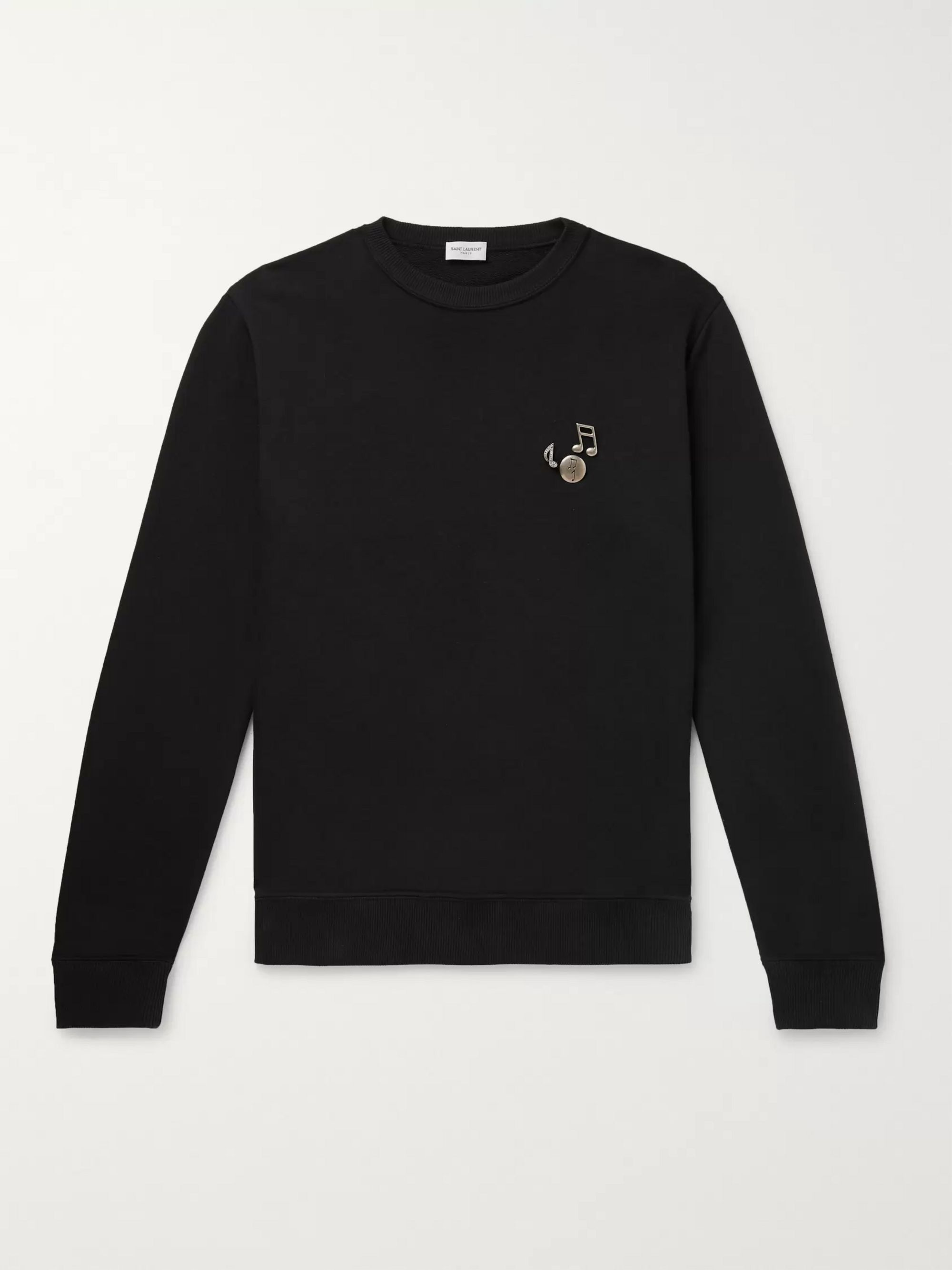 Saint Laurent Embellished Loopback Cotton-Jersey Sweatshirt