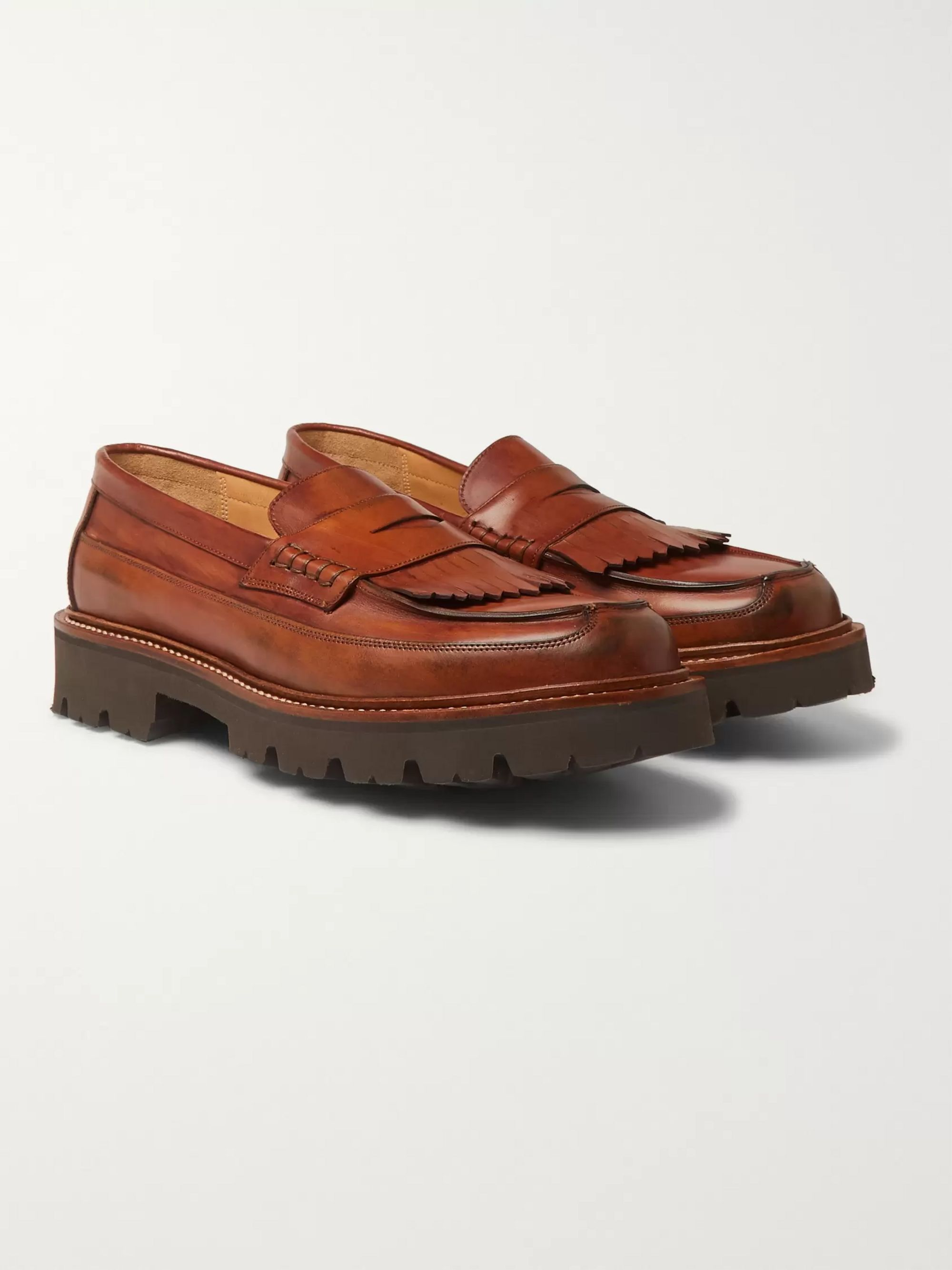 Grenson Leather Kiltie Loafers