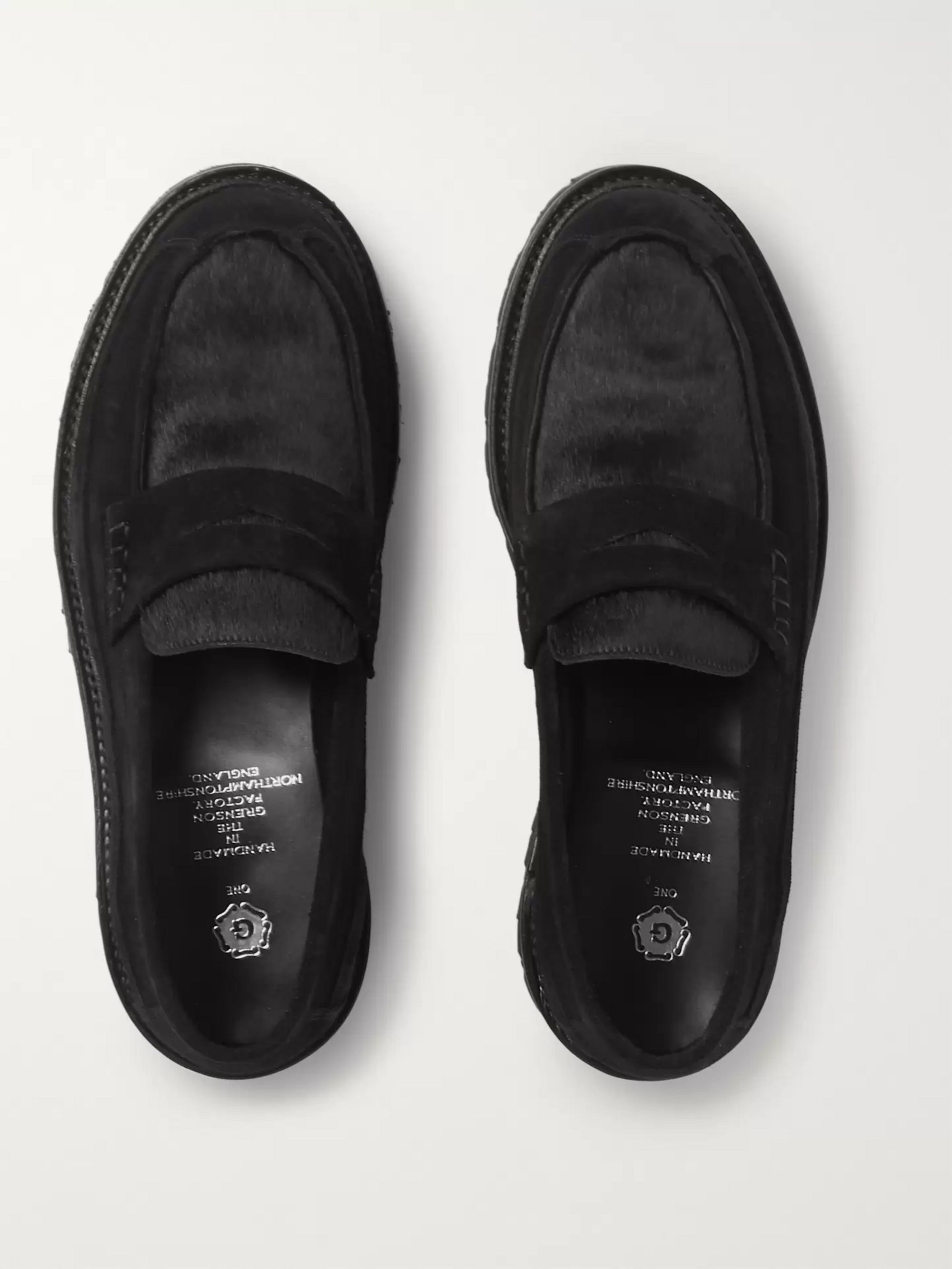 Grenson Suede and Calf Hair Penny Loafers