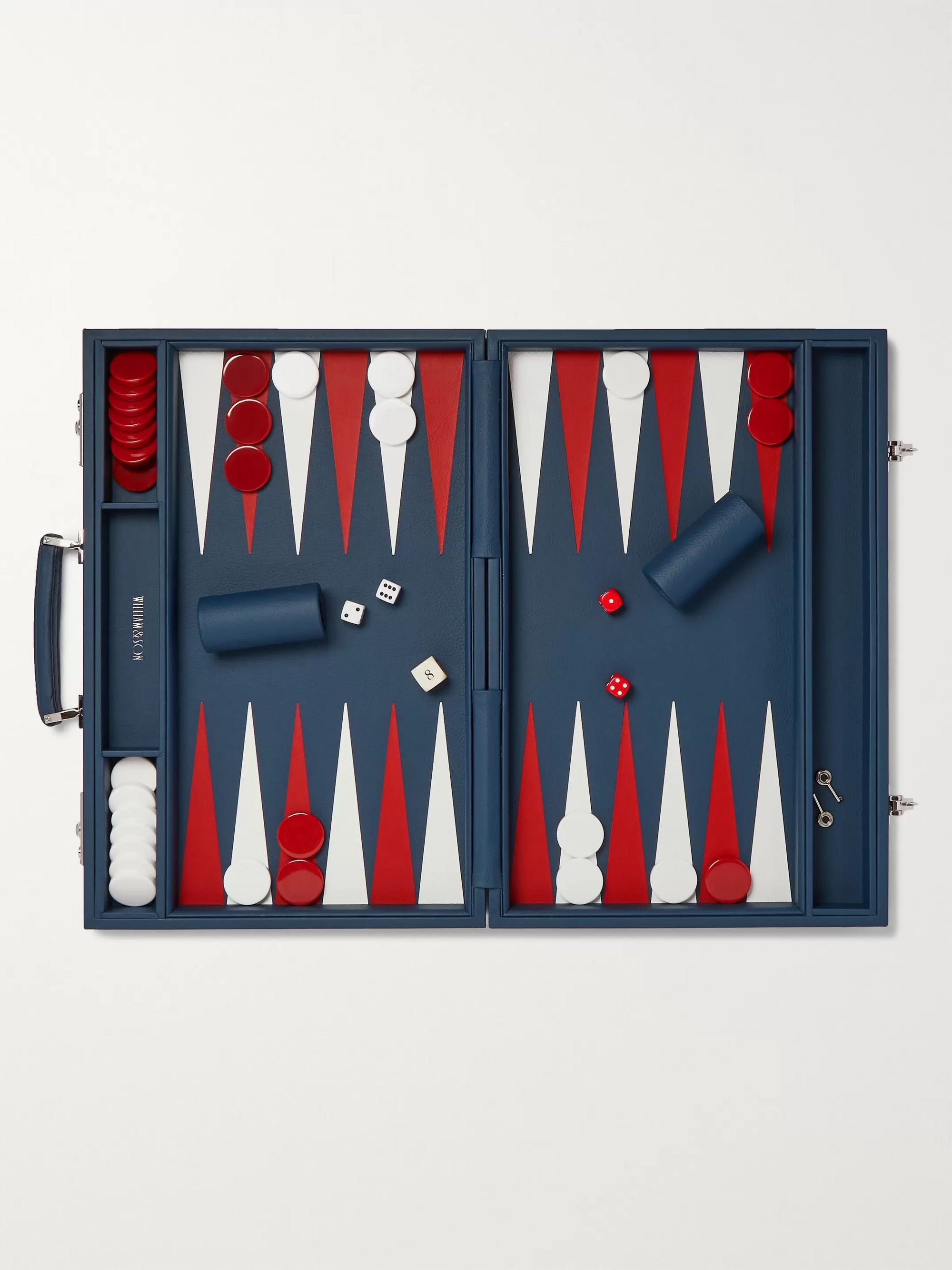 William & Son Leather Backgammon Set