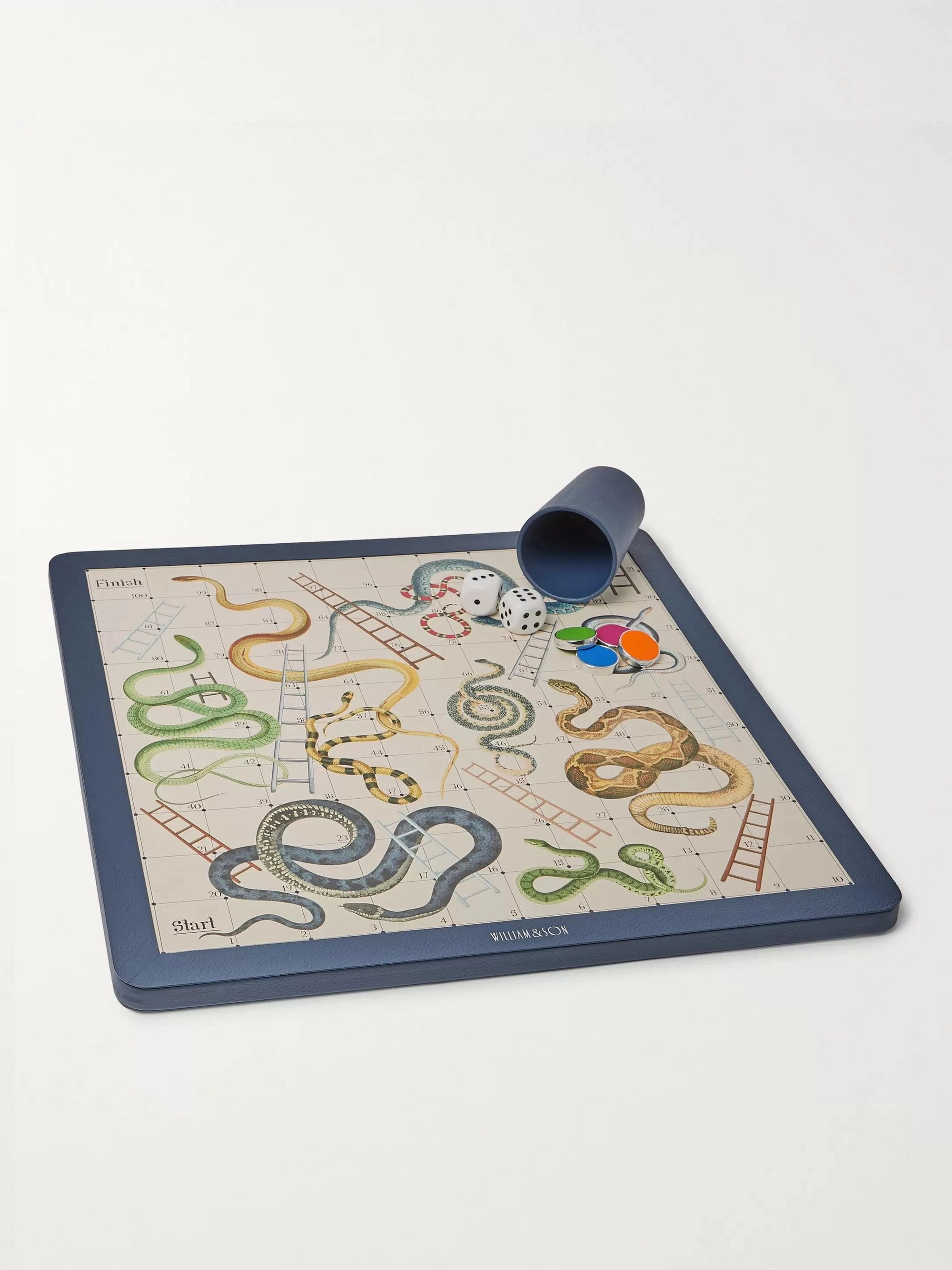 William & Son Reversible Leather Snakes and Ladders and Ludo Board