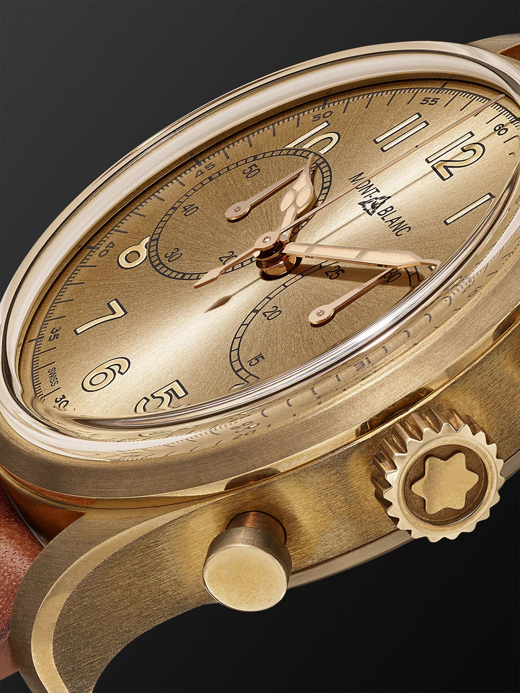 Montblanc 1858 Automatic Chronograph 42mm Bronze and Leather Watch, Ref. No. 118223