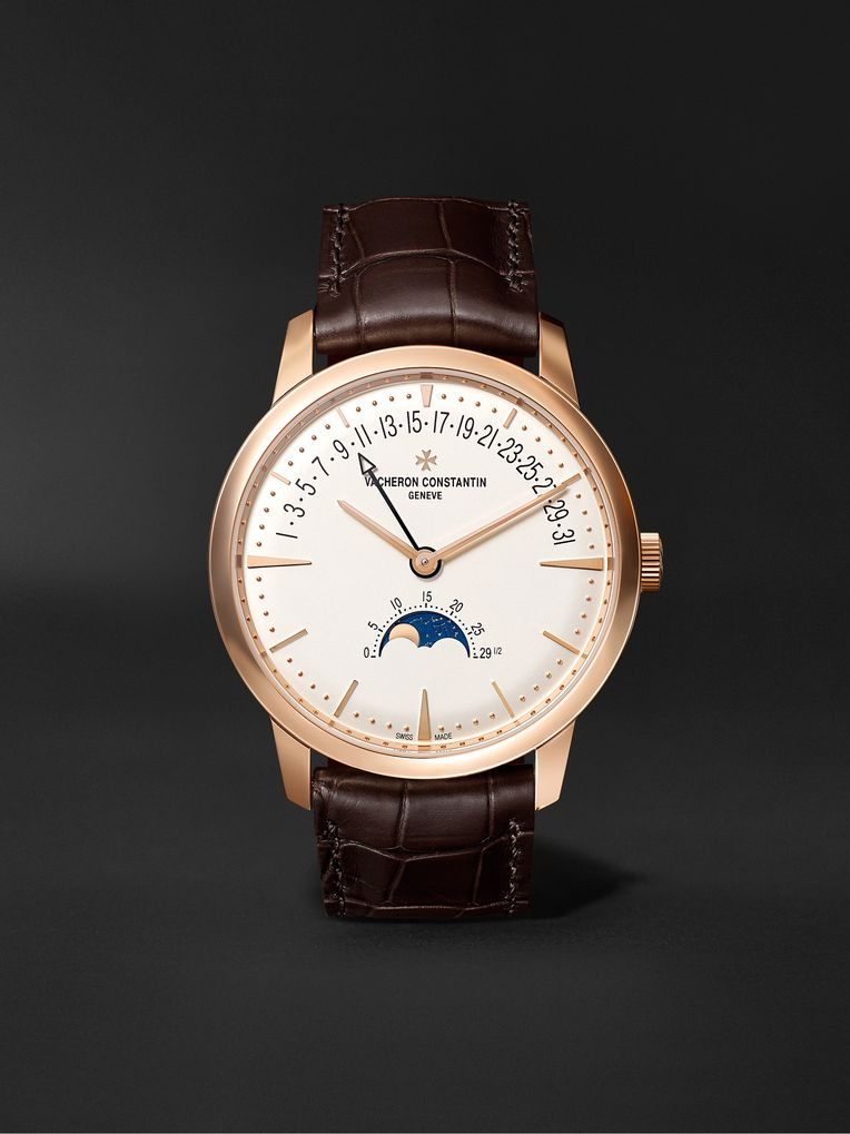 Vacheron Constantin Patrimony Moon Phase and Retrograde Date Automatic 42.5mm 18 Karat Pink Gold and Alligator Watch, Ref. No. 4010U/000R-B329 X40R1503