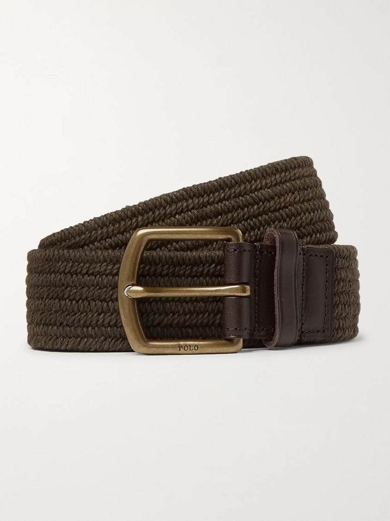 Polo Ralph Lauren 3.5cm Army-Green Leather-Trimmed Woven Belt