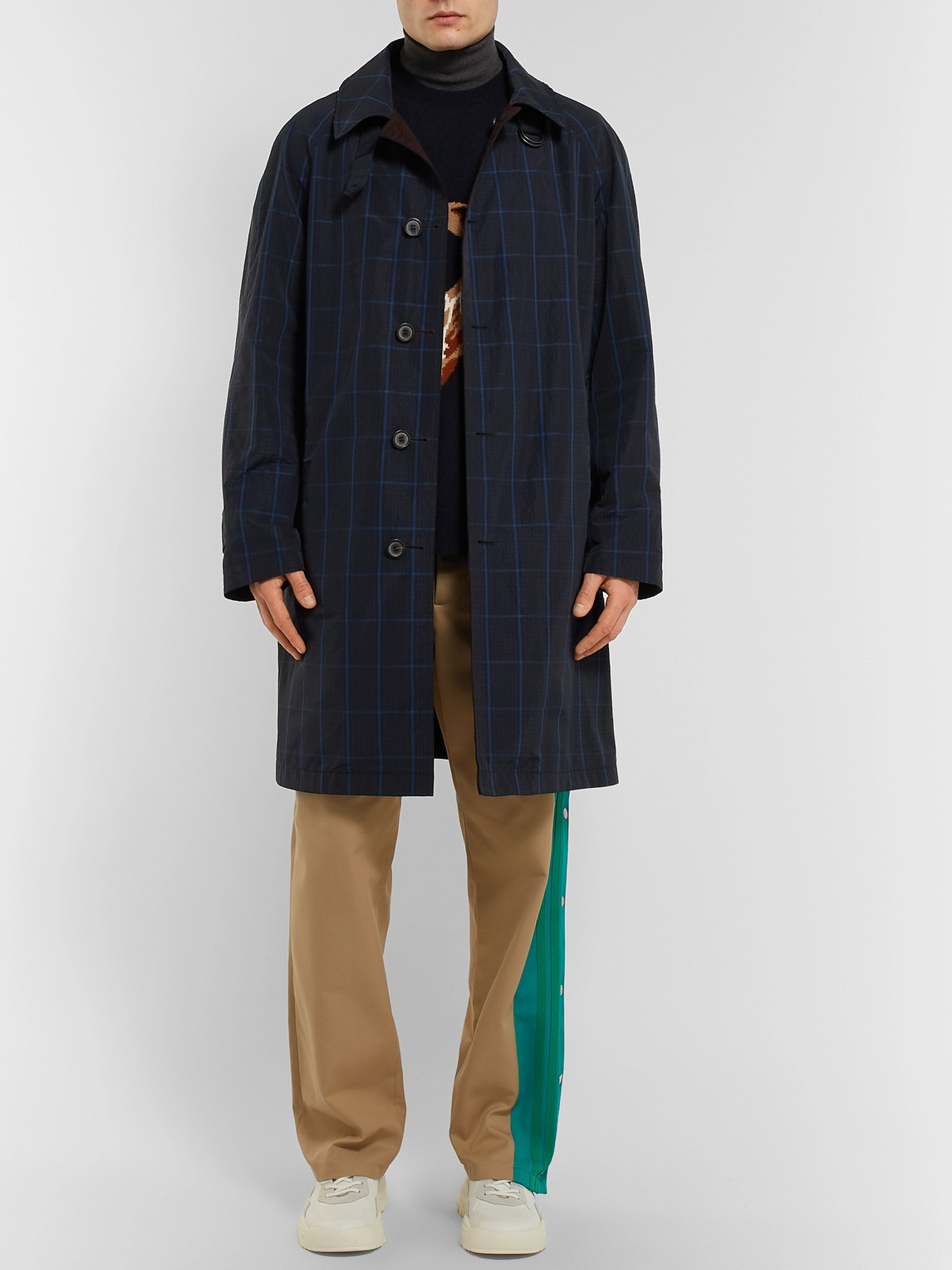 Lanvin Coats REVERSIBLE CHECKED SHELL AND COTTON-TWILL RAINCOAT