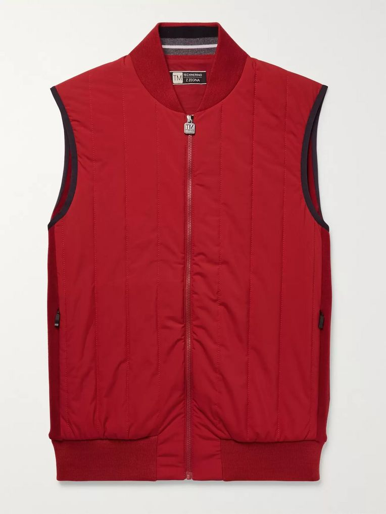 Z Zegna Quilted Wool and Shell Gilet