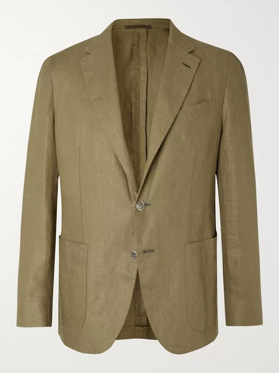 Caruso Army-Green Butterfly Washed-Linen Suit Jacket