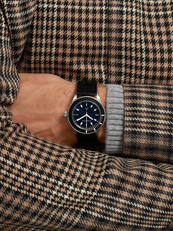 Maurice de Mauriac L2 42mm Stainless Steel and Leather Watch, Ref. No. L2 steel (blue dial)